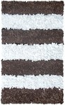 Rug Market Kids Shag 02279 Stripe Shag Brown/White Area Rug