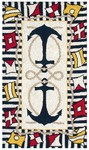 Rug Market Kids Nautical 11239 Nautical Anchor Blue Area Rug