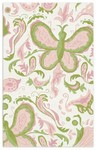 Rug Market Kids 11573 Butterfly Paisley White/Pink/Green Closeout Area Rug