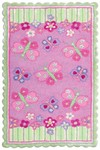 Rug Market Kids 11706 Butterfly Garden Pink/Fuschia/Lime Closeout Area Rug