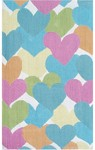 Rug Market Kids 11750 Heart-A-Loom White/Pink/Green Closeout Area Rug