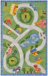 Rug Market Kids Playful Boy 16487 Road Trip Green/Red/Yellow Closeout Area Rug