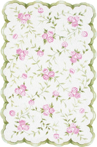 Rug Market Kids Floral 31033 Sweet Rose Pink Green Area Rug