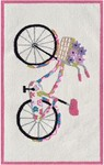Rug Market Kids Playful Girl 71168 Flower Bike White/Black/Fuschia Area Rug