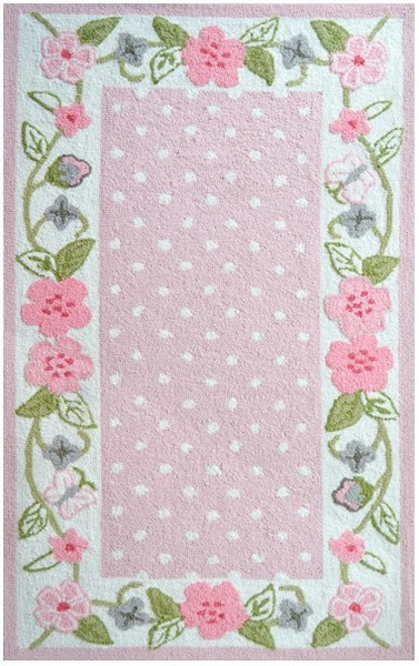 Rug Market Kids Floral 74083 Garden District Border Pink