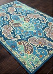 Jaipur Barcelona Indoor-Outdoor BA61 Hoja Pool Green & Dark Denim Area Rug