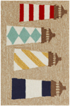 Trans-Ocean Liora Manne Frontporch 1401/12 Lighthouses Natural Area Rug