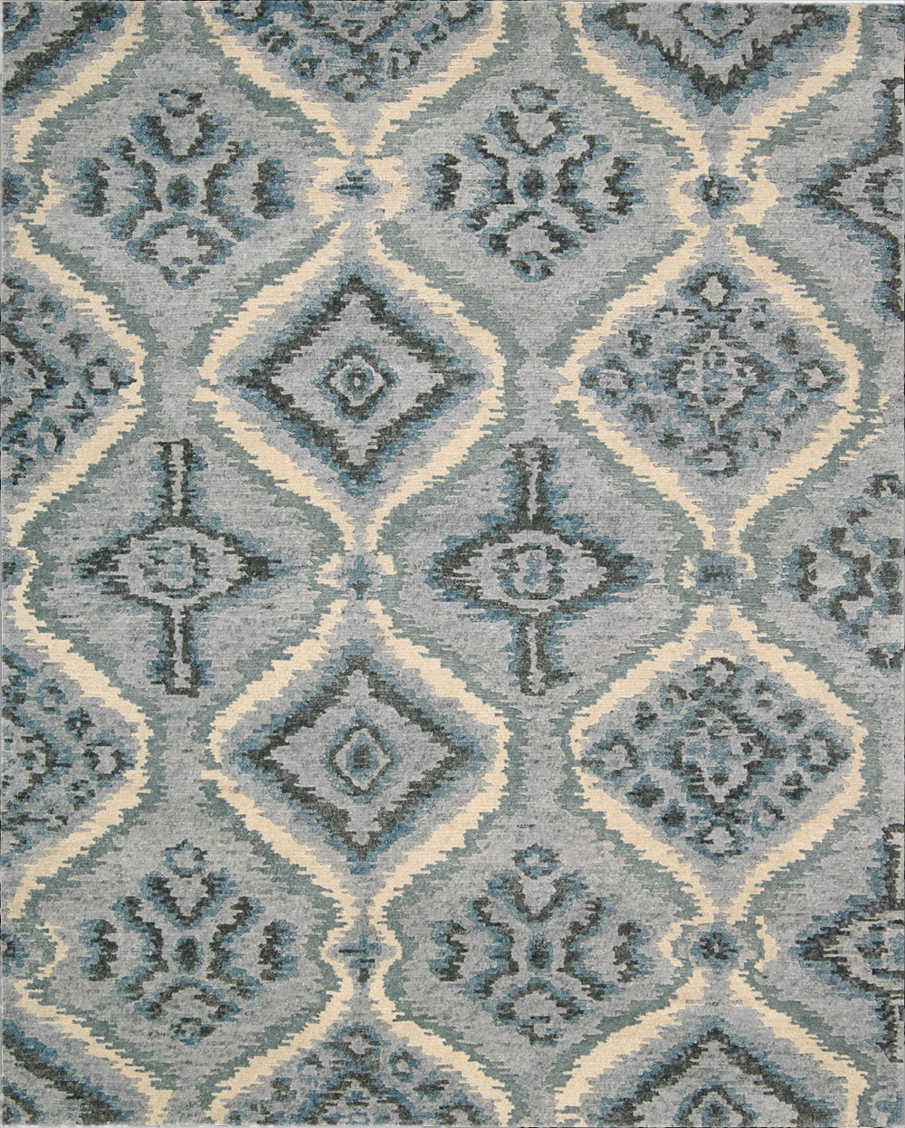 9x12 New Nourison Nourmak Hand Knotted Wool Reversible: Nourison Tahoe Modern MTA06 DENBL Demin Blue Area Rug