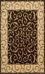 Designer Series DS42L15 Chocolate Scroll Border Rug