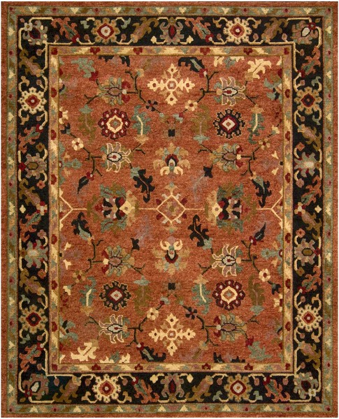 9 X 12 Nourison Nourmak Hand Knotted 100 Wool Persian: Nourison Tahoe TA12 RUS Rust Area Rug