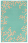 Trans-Ocean Liora Mann Terrace 1783/93 Coral Border Turquoise Area Rug