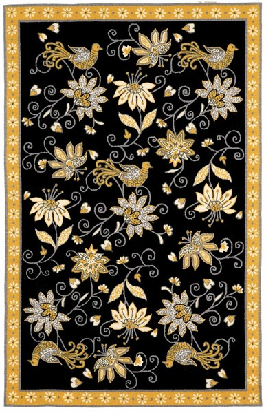 Home u003e Color u003e Black u003e Marcella Vera Bradley Indoor/Outdoor VBO001B Yellow  Bird Black Outdoor Closeout Area Rug