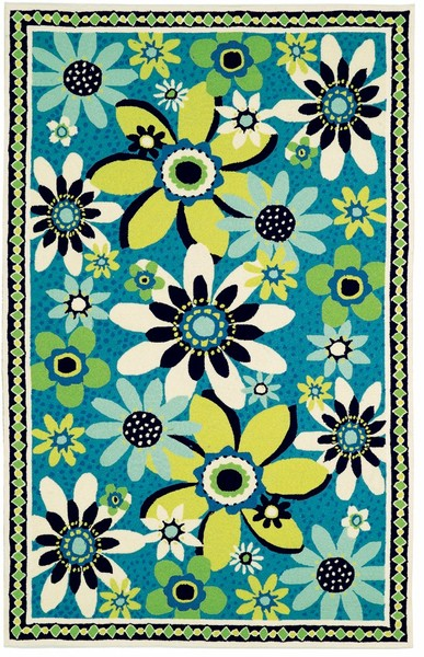 Home u003e Color u003e Blue u003e Marcella Vera Bradley Indoor/Outdoor VBO003A Daisy  Daisy Closeout Area Rug