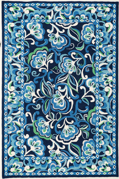Home u003e Color u003e Blue u003e Marcella Vera Bradley Signature VBY051B Mediterranean  Blue Closeout Area Rug