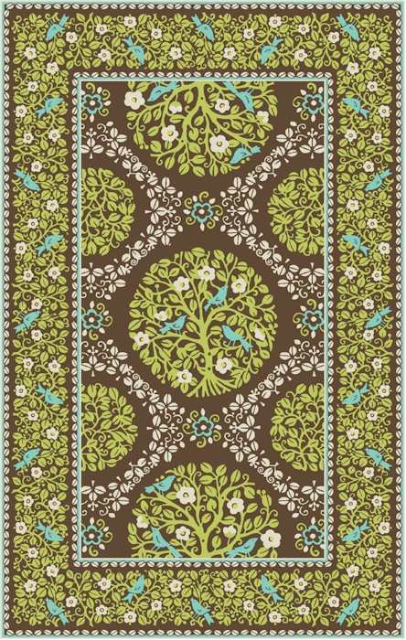 Home u003e Color u003e Blue u003e Marcella Vera Bradley Signature VBY074A Sittin In A  Tree Green/Brown Closeout Area Rug