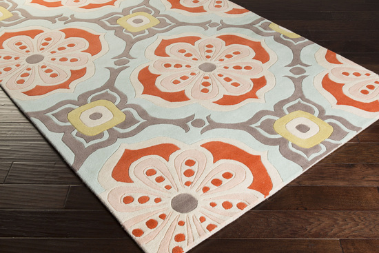 Surya Kate Spain Alhambra Alh 5007 Poppy Salmon Light Grey