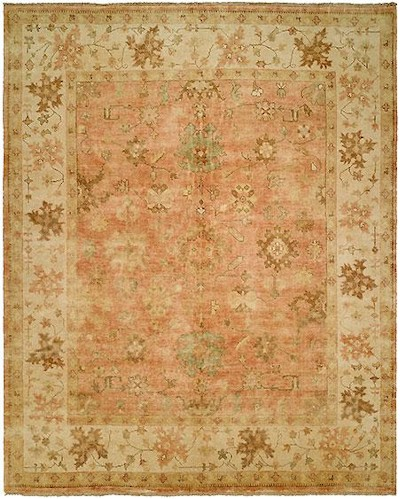 Hri Oushak Crown B 26 Peach Ivory Area Rug