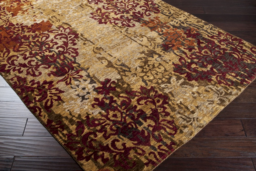 Surya Brocade Brc 1002 Tan Burgundy Area Rug
