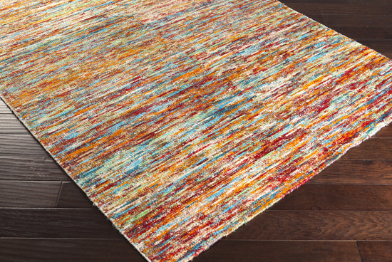 Surya Bazaar Bzr 8000 Burnt Orange Aqua Ruby Area Rug