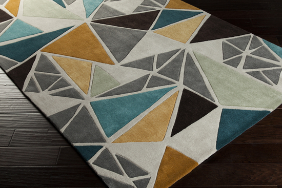 Surya Cosmopolitan Cos 9199 Grey Gold Teal Area Rug
