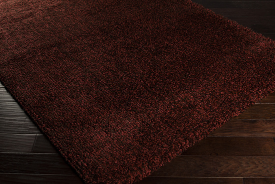 Surya Luxury Shag Lxy 1729 Dark Chocolate Brick Red