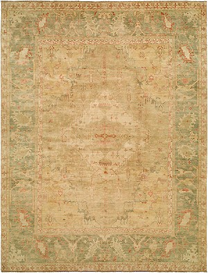 HRI Ottoman 109 Light Gold/Green Area Rug
