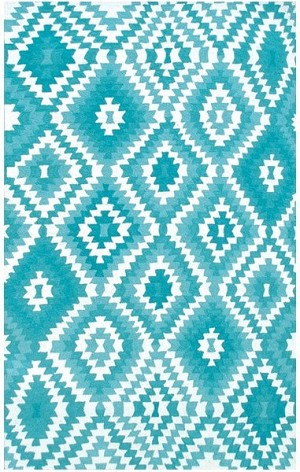Rug Market Resort 25454 Navajo Teal/White Closeout Area Rug