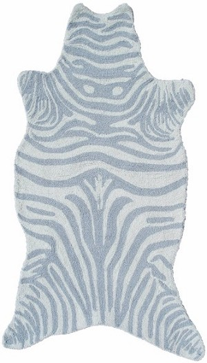 Rug Market Kids Safari 25621 Mini Zebra Grey/White Area Rug