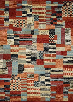 Couristan Solace 6483/0537 Adobe Patchwork Red-Sand Area Rug