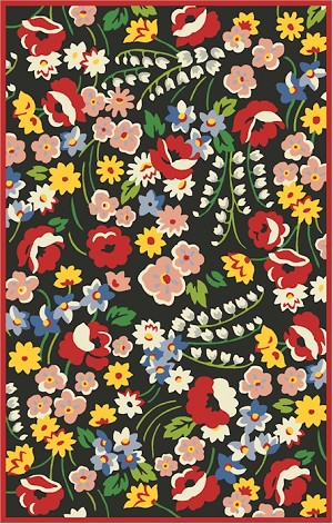 Marcella Vera Bradley Signature VBY072A Poppy Fields Black/Multi Closeout Area Rug