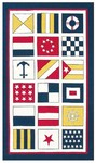 Rug Market Kids 11240 Nautical Flags Ivory/Blue Closeout Area Rug