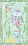 Rug Market Kids Playful Girl 12379 Jellyfish Sage/Aqua/Pink Area Rug