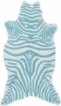 Rug Market Kids Safari 25615 Mini Zebra Teal/White Area Rug