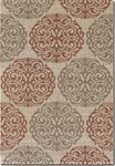 Couristan Five Seasons 3089/1791 Montecito Cream/Coral Red Closeout Area Rug - Spring 2016