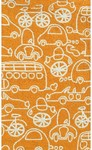 Rug Market Kids 71101 Crazy Cars Orange/White Closeout Area Rug
