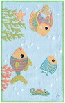 Rug Market Kids Playful Girl 71171 Fish Party Blue/Red/White Area Rug