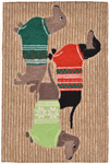 Trans-Ocean Liora Manne Frontporch 1566/12 Holiday Hounds Neutral Area Rug - Seasonal Item