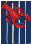 Trans-Ocean Liora Manne Frontporch 1595/33 Lobster On Stripes Navy Area Rug