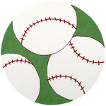 Surya Playground PLY-6020 Green/White Baseball Closeout Area Rug - Fall 2012