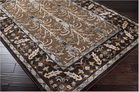 Surya Basilica Bsl 7161 Driftwood Brown Dark Chocolate Mediterranean Blue Closeout Area Rug Fall 2017