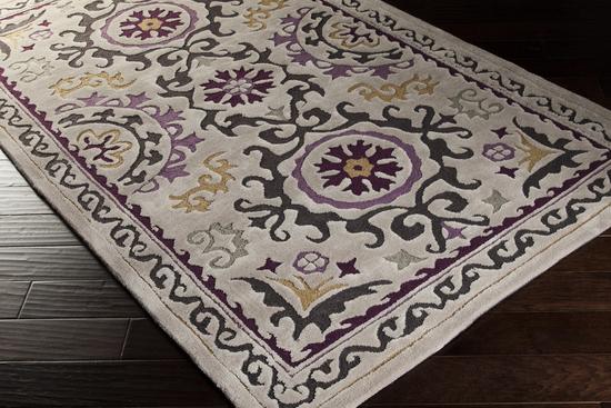 Surya Mamba Mba 9022 Light Grey Charcoal Violet Closeout