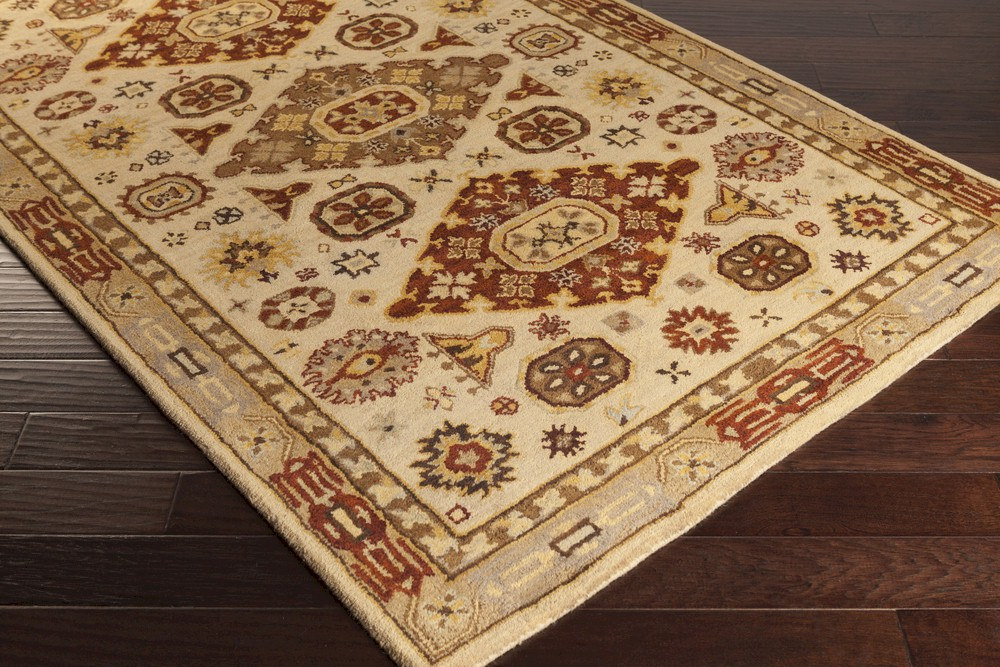 Surya Tinley Tin 4002 Beige Burgundy Gold Gold Charcoal Closeout