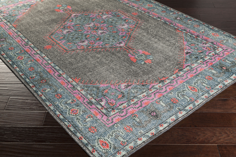 Surya Zahra Zha 4006 Grey Teal Hot Pink Area Rug