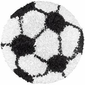 Rug Market Kids Sporty 02253 Shaggy Raggy Soccer Ball Area Rug