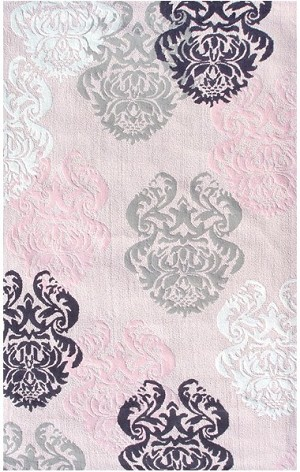 Rug Market Kids Tween 12363 Brocade Pink Black White Area Rug