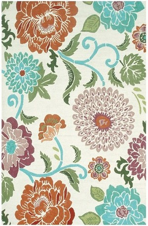 Rug Market Resort 25447 Poppy Scrolls Red/White/Blue Area Rug