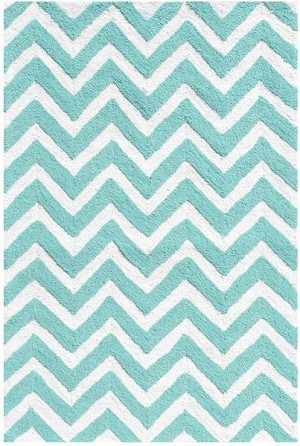 Rug Market Kids Tween 25606 Chevron Teal/White Area Rug