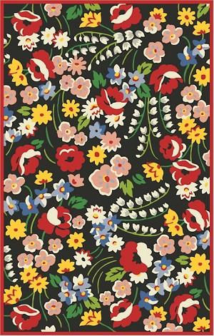 Marcella Vera Bradley Signature Vby072a Poppy Fields Black Multi Closeout Area Rug
