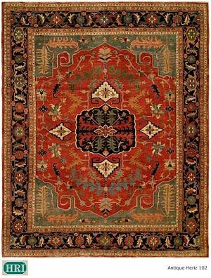 HRI Antique Heriz 102 Red/Blue Closeout Area Rug