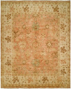 HRI Oushak Crown B-26 Peach/Ivory Area Rug